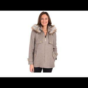 cb2b70aad Women's Kensie Faux-Fur Hooded Tweed Jacket TAUPE